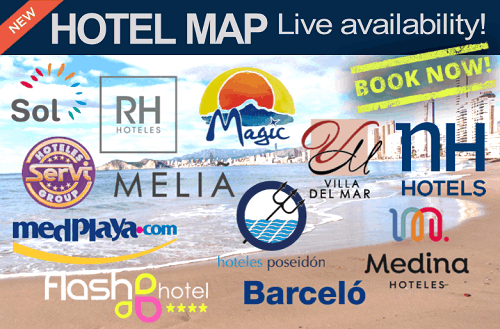 Benidorm Street and Hotel Map with Live Availability
