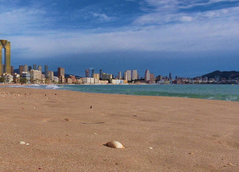 Early morning in winter, on the Poniente beach Benidorm.