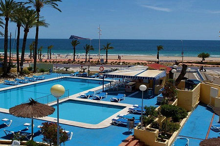 Poseiden Playa is a beach front hotel on the Poniente in Benidorm Spain