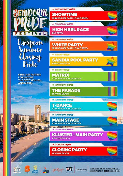 Pride Benidorm 2018 - Confirmed libne up of events and parties.