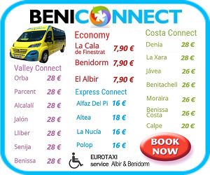 EXPRESS Connect and COSTA Connect Transfer shuttles from Alicante airport. Benidorm Maximum 4 stops.