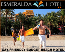 Esmeralda Gay Friendly Beach Hotel in Benidorm. A 2 star budget choice. Always pay the little extra and take a sea view room here - Low prices with a 5 star view.
