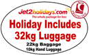 Holidays with 22kg luggage allowance and 10kg hand luggage