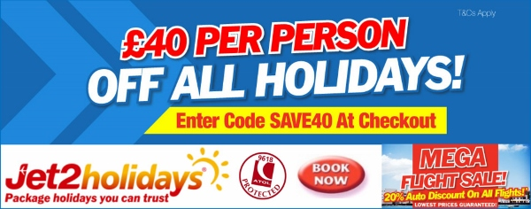 Jet2 Holidays in Benidorm for only �60 deposit withe last minute Spain holidays from �259 and free child places