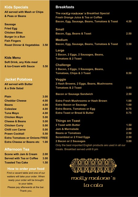 Molly Malones Restaurant Menu Bar Snacks and Breakfasts