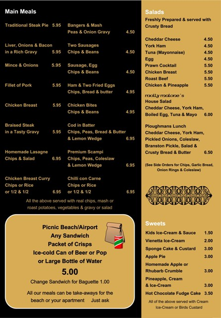 Molly Malones Restaurant Menu - Main mealsand salads
