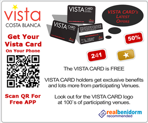 VISTA CARD Benidorm the FREE discount and offers card accepted at 100`s of venues.